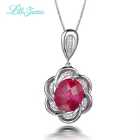 l&zuan 925 sterling silver natural 6.44ct Ruby red genstone flower pendant with silver chain for princess wedding jewelry gift