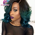 2016 New Fashion Wavy T1b/dark green Ombre Glueless Full Lace Wigs Brazilian Virgin Hair Lace Front U Part Wigs For Black Women
