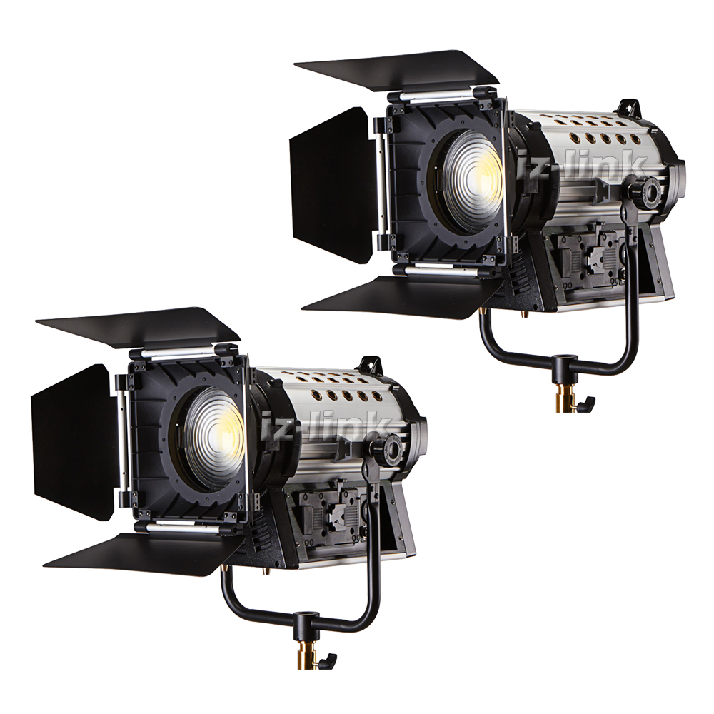 ALUMOTECH 2 pcs V lock 200W LED Fresnel Dimmable Bi color Wireless Remote Spotlight for Video Studio