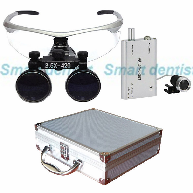 2016 Metal box 3.5X times enlarger dental amplify operate loupe led head light operating magnifier surgical amplification