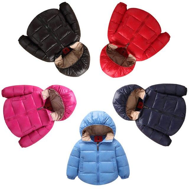 Относящийся к сети зимняя куртка мальчики твердые цвета зимняя куртка для девочек детские зимние куртки 100% хлопок вниз пальто для мальчиков и девушки