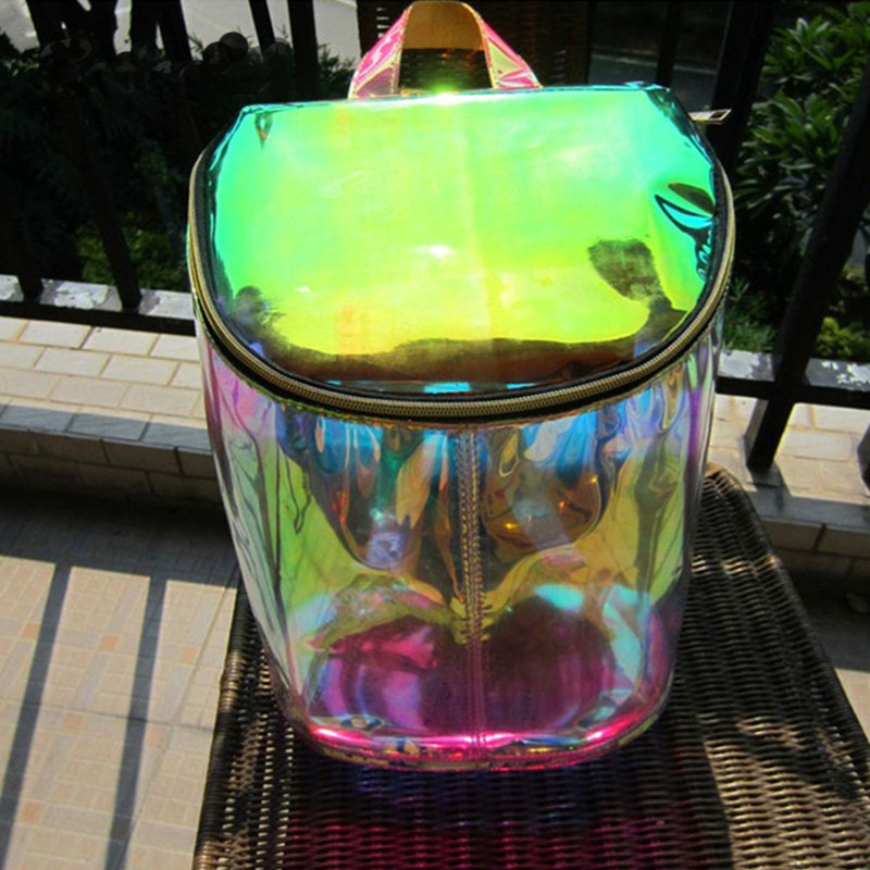 Women Transparent Backpack High Quality Silver Laser Hologram Backpack Girls Shoulder Bag Holographic Harajuku Hologram PVC Bag