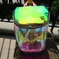 Women Transparent Backpack High Quality Silver Laser Hologram Backpack Girls Shoulder Bag Holographic Harajuku Hologram PVC Bag