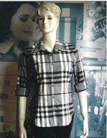 новая коллекция весна женщин англия и американский мода классический плед воротник рубашки блузка бесплатная доставка