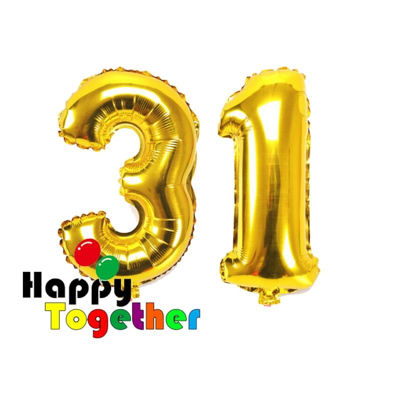 40 inch Emas Pencetakan Nomor 31 Aluminium Foil Balon