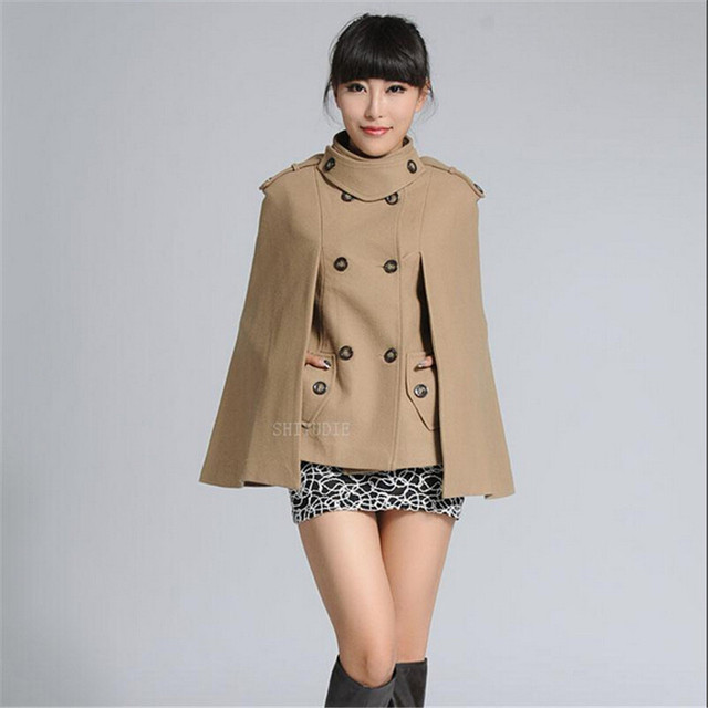 € 52.35 48% de DESCUENTO|Abrigo de lana chal mujer otoño vestido estilo Mew capa tipo abrigo corto de doble pecho Kpop Cashmere abrigo Holloween