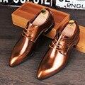 Estilo britânico Homens Flats Brogue Sapatos de couro Rachado da Vaca Do Vintage Apontou Toe sapatos de Negócios Vestido Ocasional Oxfords 022