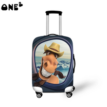 2016 ONE2 Design cute horse 3d animal pattern printing cover apply to 22,24,26 inch fashion waterproof elastic luggage cover