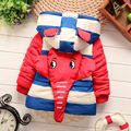 Cartoon Elephant Striped Winter Jacket Boys,Baby Coat Clothing Thick Hooded Kids Warm Winter Jackets,Children Clothes Outerwear