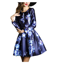 New 2016 Spring Runway Women trench coat Long Sleeve O-Neck Printed High Waist Pleated Ladies Outwear M-XXL Send Belt