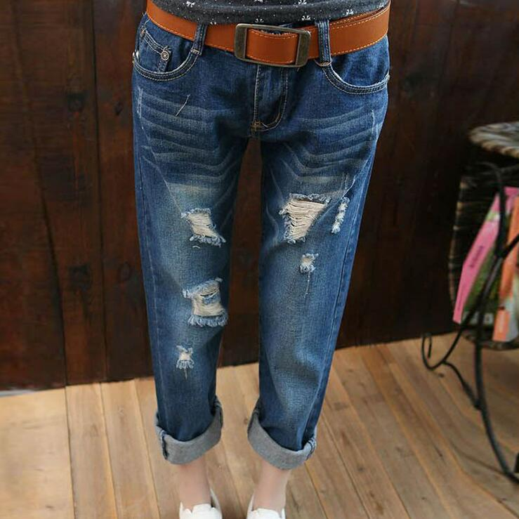 #3201 Spring summer 2016 Ladies ripped jeans Loose Fashion Ankle-length Harem jeans Denim jeans womens Plus size jeans femme