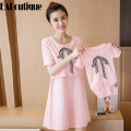 New summer korean style fashion pregnant women dress maternity clothes mother daughter clothes include baby romper