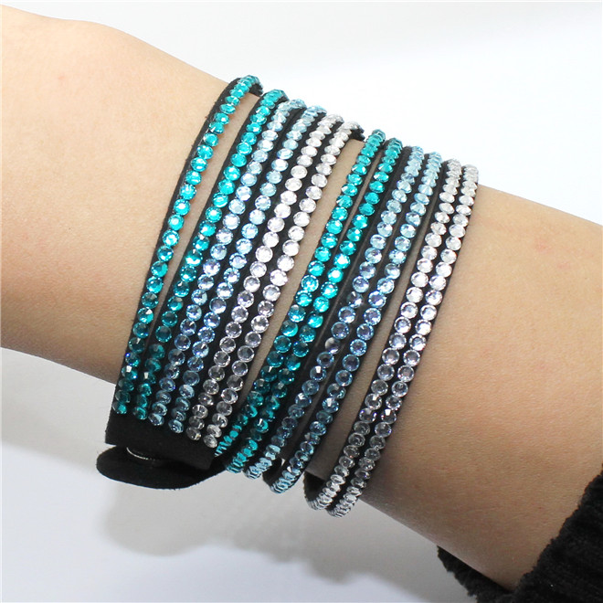Fashion 6 Layer Wrap Bracelets Slake Leather Bracelets With Crystals Couple Jewelry womans bracelet 19