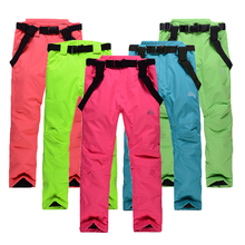 Free shipping unisex snowboarding pants lovers ski pants with straps sports trousers waterproof breathable warm