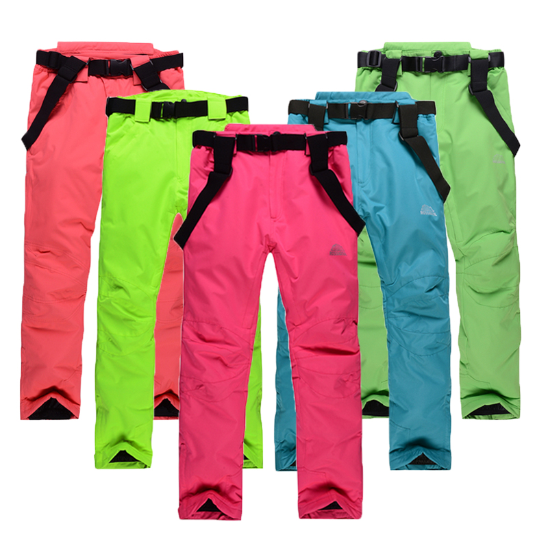 Free shipping unisex font b snowboarding b font pants lovers ski pants with straps sports trousers