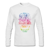 2017 Nuevo estilo hombres manga larga Camiseta Día del cráneo muerto slim fit camiseta algodón hombres descuento camisetas