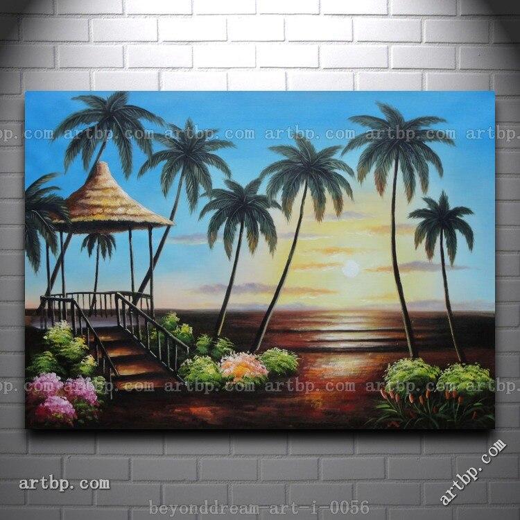 Hawaii Jerami Pondok Dengan Pohon Pohon Palem Di Sunset Lukisan