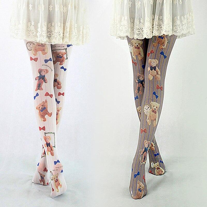 hot girls lolita harajuku tights japanese cute bear Printing animal kawii women 3colors Pantyhoses