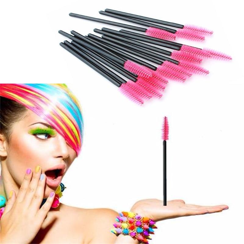 100Pcs Disposable Eyelash Brush Mascara Wands Applicator Spoolers Eye Lashes Cosmetic Brushes Set Makeup Tool Multicolor tecna cosmetic makeup eyelash lengthen curler mascara black