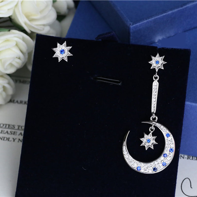 1 Pair Silver Women Rhinestone Star Moon Asymmetrical Stud Earrings Fashion Snowflake Long Earrings Eardrop