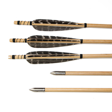 12pcs Archery Cedar Wood Arrows with Turkey Feather nd Iron Arrowhead for 25-50lbs Bows for Archery Shooting hunting