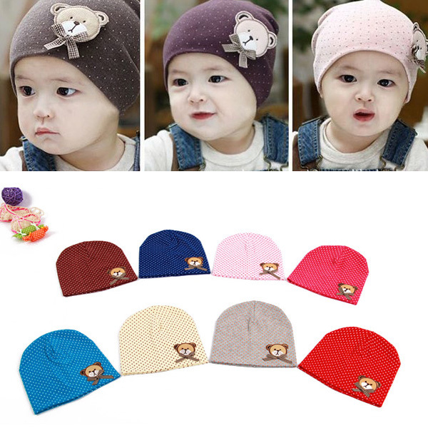 Boy Girl Toddlers Baby Beanie Hat Bear Labeling With Small Dot Hat For Newborn Baby