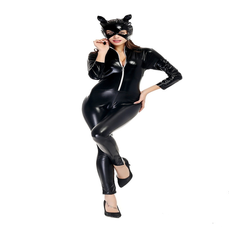 Sexy Catwoman Cosplay Costume Women Black PU Patent Leather Jumpsuit  Latex Bodysuit Stretchable With Tail For Halloween
