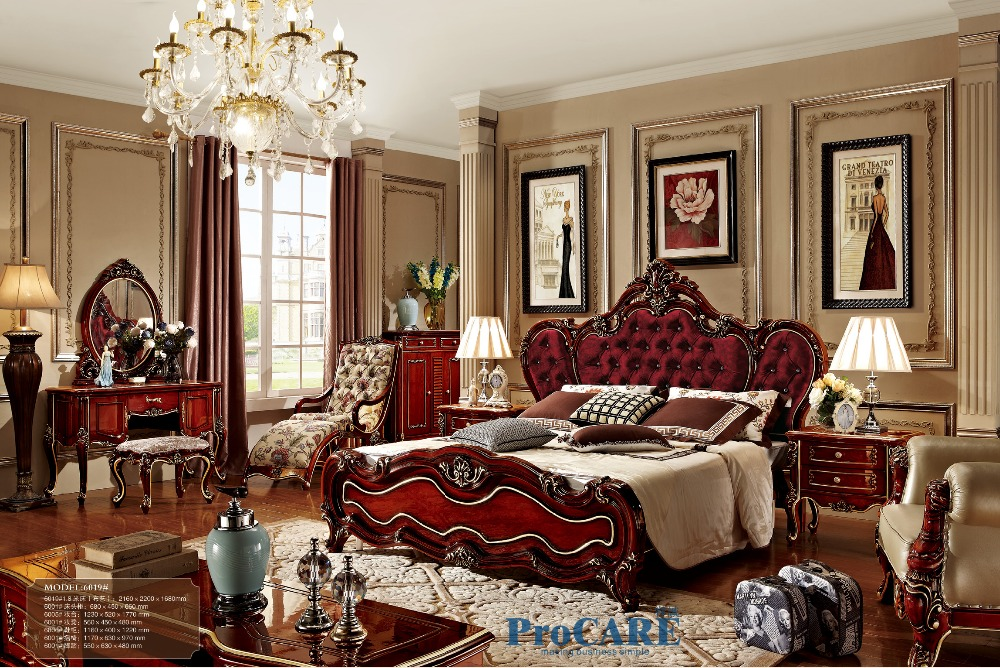 Luxury Italian Style Red Solid Wood Carving Bedroom Furniture Set With King Size Fabric Beddresserchair And Shoes Cabinet 6019