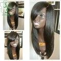 Перуанский девы волос шелк лучших человеческих волос парики с челкой левая сторона часть шелковый топ фронта парик для афро-американцев