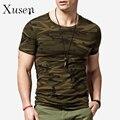 Камуфляж мужская футболка 2016 лето новинка свободного покроя с коротким рукавом хлопка футболки мужчины фитнес топы камо печать Tshirt homme