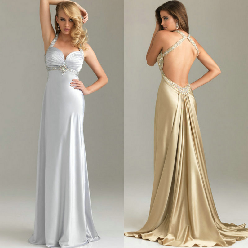 Pink Gold Silver Color Elastic Satin Backless Cheap Price Prom