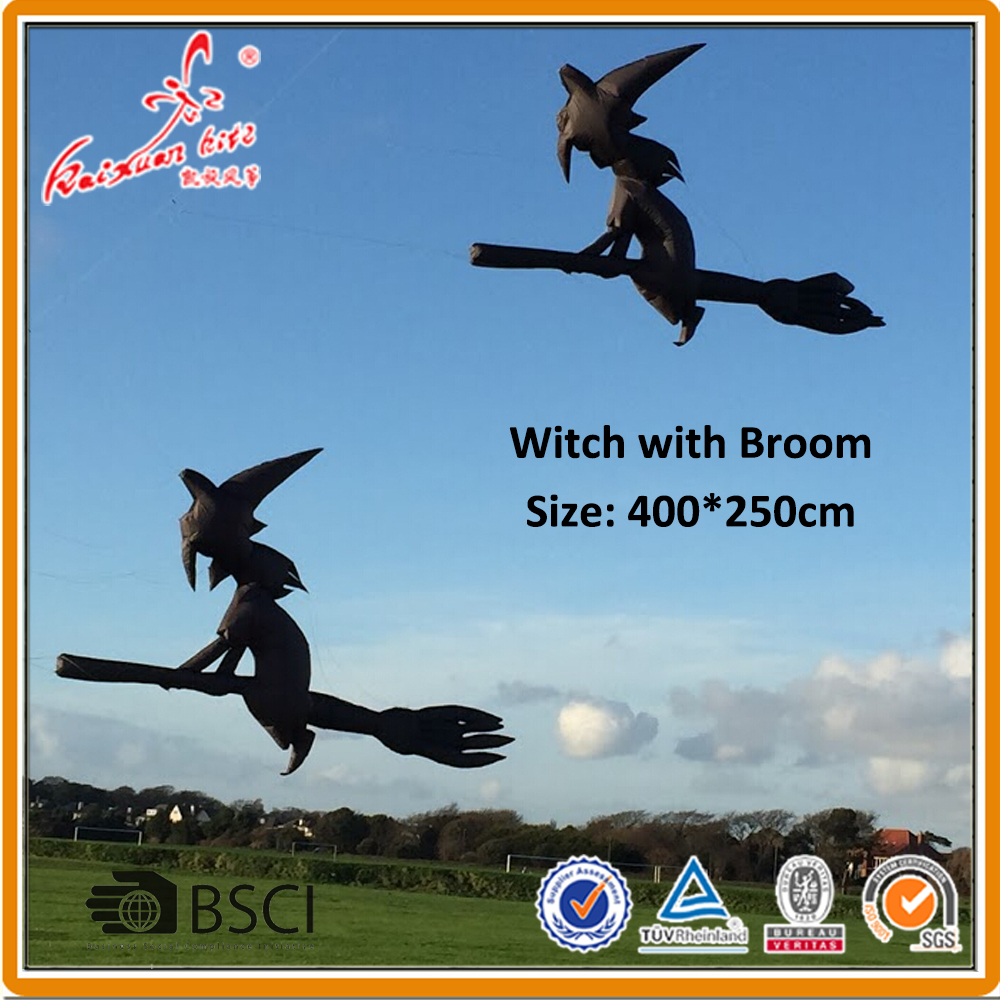 400 250cm Witch With Broom Line Laundry inflatable show kite from Weifang kaixuan kite factory