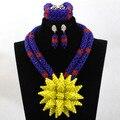Maravilloso Amarillo Broche de Cristal Bib Declaración Collar Conjunto de Boda Africana de Nigeria Joyería Conjunto WA970 Novias Envío Libre