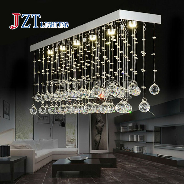 T Best Price LED Retangular Modern Lustre Crystal Chandeliers Dining Room Lamp Droplight Pandent