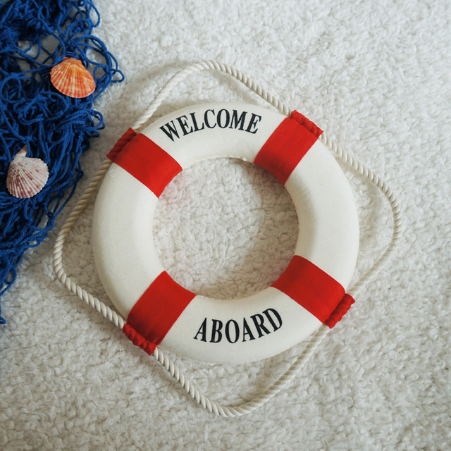 Umiwe Navy Style Lifebuoy Home Decor Nautical Welcome Aboard Decorative Ring Room Bar Home Decoration