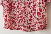 лето новых европейских и американских сети синхронизации красный маленький цветочный сад стиль с V-образным вырезом широкий рубашка фема