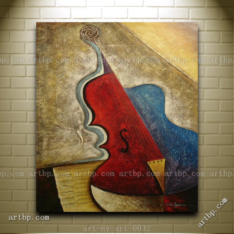 contemporary oil painting of abstract musical instrument cello