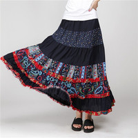 2015 Skirts Womens Saia Longa Cotton Linen Casual Printed Patchwork Vintage Maxi Pleated Skirt Bohemia Beach