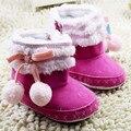 Doces Meninas Do Bebê Infantis Sapatos de Algodão Furry Suave Sole Criança bebê do Inverno Da Menina Botas Botas de Zíper Lateral Sapatos de Bebê Sólidos inverno
