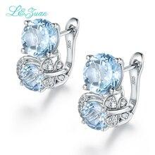 I&zuan Trendy Earrings 6.7ct Double Topaz Blue Elegant  Stud Earring sterling Silver Jewelry Earrings 925 Sterling Silver