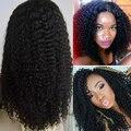 Peluca brasileña virginal del pelo rizado rizado Glueless del cordón del pelo humano pelucas para negro mujeres Top calidad del frente del cordón pelucas de cabello humano