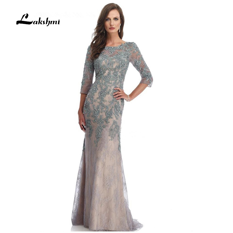 2017 Three Quarter Sleeve Long Mother Of The Bride Dresses