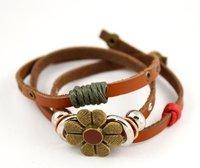 2015 новое мода ретро цветок кожаные браслеты модный старинные ювелирные изделия b141