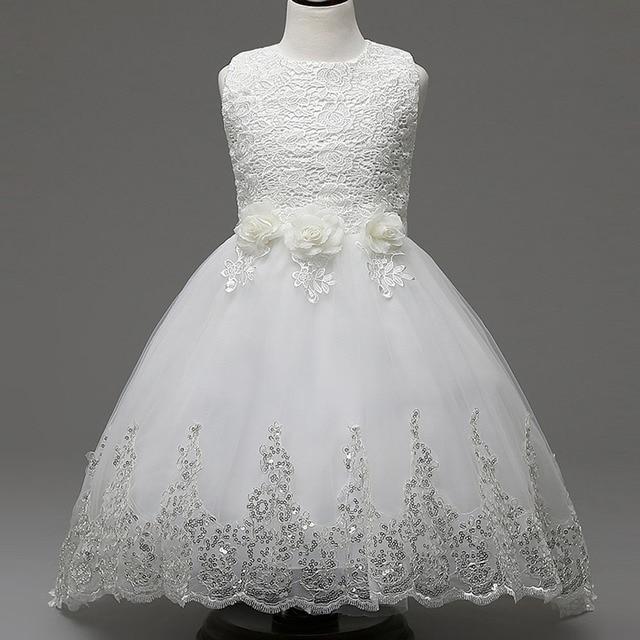 Princesa Vestido Da Menina Flor Para O Casamento Da Dama de honra Do Partido Alta Qualidade Crianças Sem Mangas Arco Arrastando Rendas Tule Vestido Tutu Branco