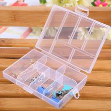 1 pc Portable Transparent Seal 6 Grid Storage Case Clear Plastic Pill Jewelry Nail Box Holder Organizer Case Removable #555