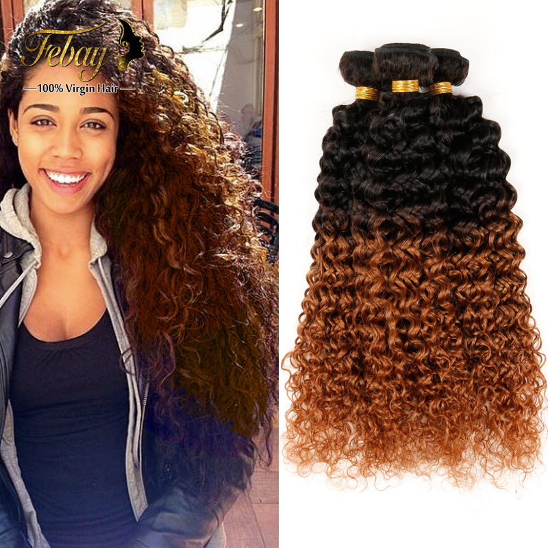 Ombre Indian Virgin Hair Bundles Kinky Curly 3Pcs/Lot 2 Tone Human Hair Kinky Curly Febay Curly Hair Products 3 Color Available от Aliexpress INT