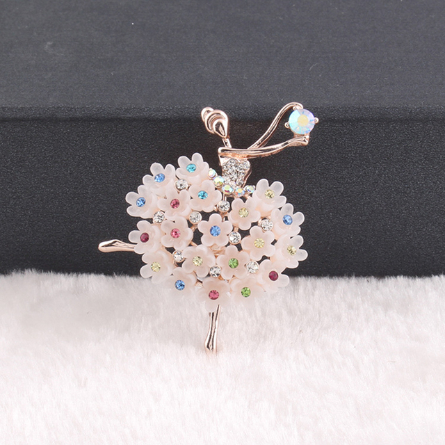 OMENG 2017 New Fashion Ballerina Ballet Dancer Girl Full Colourful Crystal Cute Angle Brooches Pins Wholesale XZ025
