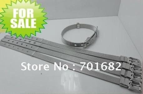 Wholesale100strips стальной браслет DIY аксессуары могут через 8 мм слайд буквы или амулеты