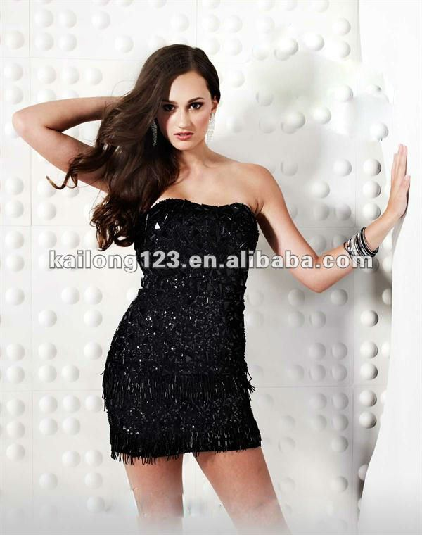 Fashion Strapless Fitted Beaded Sequined Silver Black Gold Short