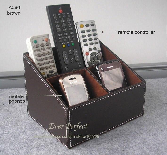 Multifunction Faux Leather Desk Organizer Storage Box Case Remote  Controllers Storage Box A096